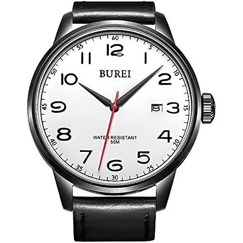 BUREI® Orologio da uomo Data impermeabile orologio al quarzo con cinturino in tela in pelle nera, quadrante