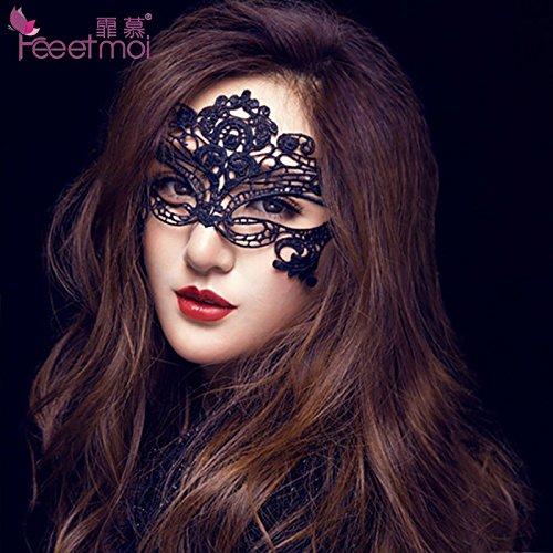 Sesexxy Damen Sexy Spitze Schleier durchbohrte Auge Halb Maske Nachtclub Partyqueen SM Zwei Anzug Zubehör Dekorative Geschmack, Alle - Schwarz