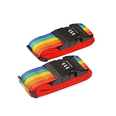 REY Pack of 2 Luggage Security Straps Packing Belts Pair Combination Lock Rainbow Stripe