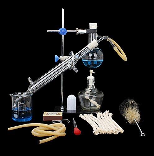 Destilliergerät für ätherisches Öl, 100 ml, für chemische Experimente, Laborgläser, 10-teiliges Set zur Herstellung von ätherischen Ölen, Moonshine -