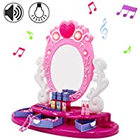 deAO Toy Princess Glamour Vanity Table Top Mirror Beauty Play Set with Light Music and Accessories
