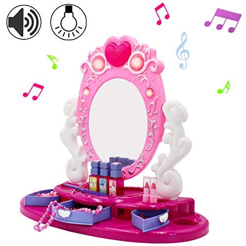DeAO Centro de Belleza Tocador con Espejo y Joyero Conjunto Incluye Accesorios y Maquillaje Artificial...