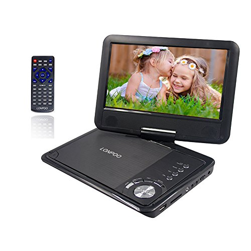 9,5\'\' Tragbarer DVD-Player, 2500 mAh,3-5 Stunden Akku, schwenkbaren Bildschirm, unterstützt SD-Karte und USB, mit Spiele-Joystick, Auto-Ladegerät-Schwarz
