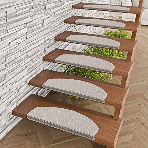 Pergamon Natur Sisal Stufenmatten Grau (halbrund) einzeln oder im 15er Set in 2 Größen
