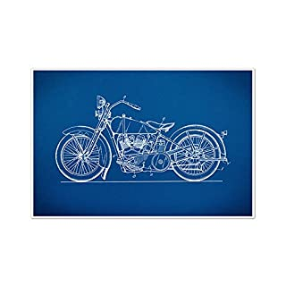 ArtsyCanvas Old Harley Davidson Gearhead Blueprint Art (36 x 24 Poster), 36