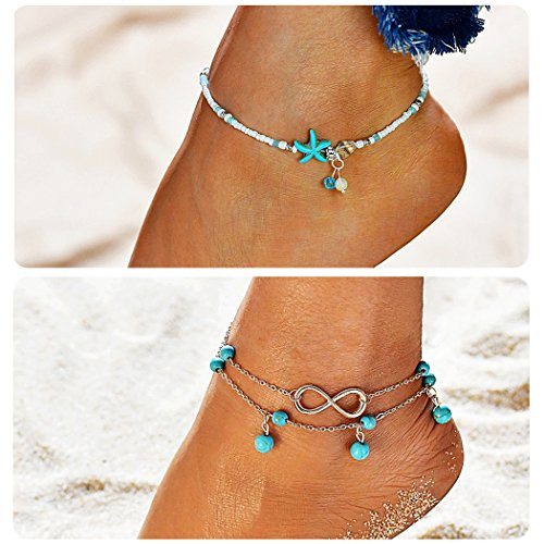 suyi Fille Layered Anklets Turquoise Perles Mer Tortue Cheville Réglable Étoile de mer Chaînes de pieds de plage Bijoux pour femmes StarfishSet