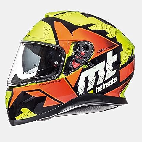 MT–Thunder 3SV Torn Gloss Casque intégral Orange XS multicolore