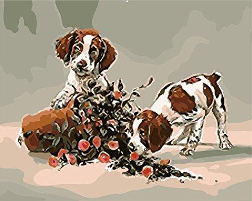 hlen Kits || Dog & Rose Flower 50x 40cm || Malen nach Zahlen, DIGITAL Ölgemälde, Frameless (Star Trek-geburtstag Karten)