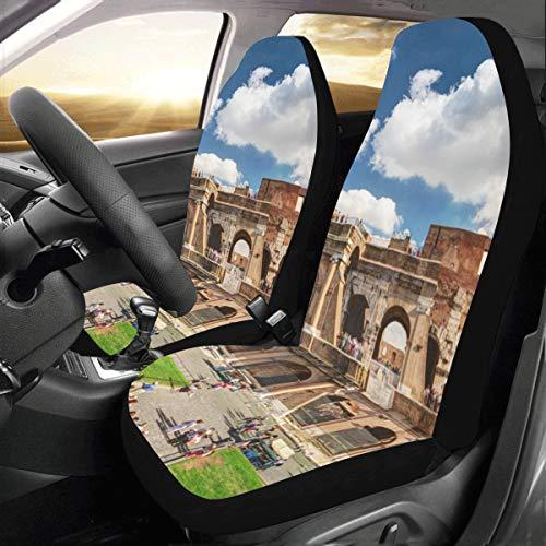 Coprisedili per bambini Famoso Colosseo a Roma Italia Universal Fit Auto Coprisedili per auto Protezione per camion per auto Suv Veicoli Donne Lady (2 anteriori) Copertura per auto per bamb