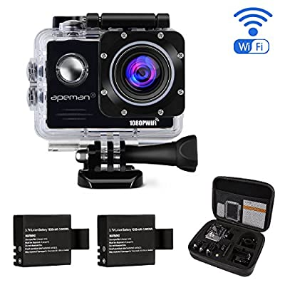 Action Camera APEMAN Waterproof Action Camera Sport Camera Action Cam 1080P 14MP Wi-Fi 2.0'' LCD Screen Full HD 170° Ultra Wide-Angle Lens Dual 1050mAh Batteries with Portable Package Case and Kit of Accessories