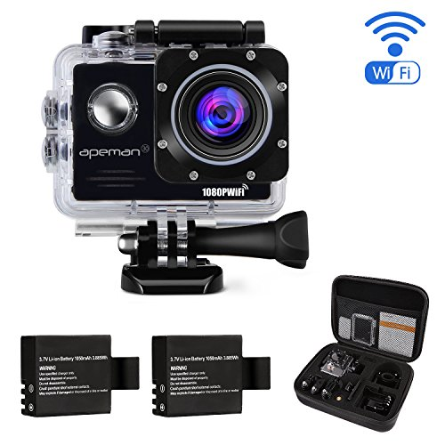 APEMAN-WiFi-Action-Cam-Sport-Impermeabile-Full-HD-1080P-14MP-170-Grandangolare-20-Pollici-2x1050mAh-Batterie-e-Kit-Accessori-con-Pacchetto-Portatile-Nero
