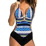 PAOLIAN Trajes de una Pieza Bikini Enteros Sexy Mujer Verano 2018 Ropa de Playa Bañador Impreso Viento naciona Cuello Colgante Espalda Nadador Heuco Camisolas y Pareos Cintura Alta (M, Azul)