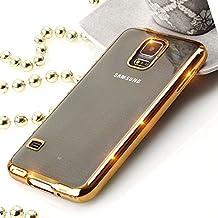 Silicona TPU Cromo Case para móvil Metálico Funda Back Case Transparente con Borde de Colores Carcasa Crystal Carcasa Trasera Sparkles Bumper, plástico, dorado, Hülle für Galaxy S5 G900F