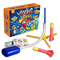 RunkeU Original Stomp Rocket Launcher Toy, Air Blast Rocket Toys & Games Ideal Outdoor Toy Jump Rocket Rocket Launcher Toy Rocket Ship Toy Space Rocket Toy Kids Toys Age 4-8, 2 Rockets Included