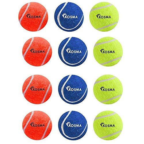 Kosma 12 Tennisbälle Pet-Kugeln | Hund | Spielzeug Spielzeug Ball für PET-Ausbildung - in leuchtenden Farben mit Mesh Pack - (4 gelb, 4 Blau, 4 Orange)