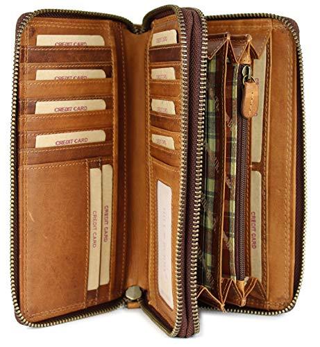 Lange Leder Damen Geldbörse (Hill Burry hochwertige XXL Vintage Leder Damen Geldbörse Portemonnaie langes Portmonee Geldbeutel Organizer aus weichem Leder mit extra vielen Fächern in braun - 20x11x3,5cm (B x H x T))