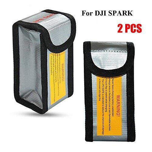 Suncentech Batería Bolsa Ignífugo Almacenamiento Saco para dji Spark, LiPo Batería Seguro Bolsa para Juguetes RC Radiocontrol Vehículo Drone Coche (125 x 64 x 50 mm, 2PCs)