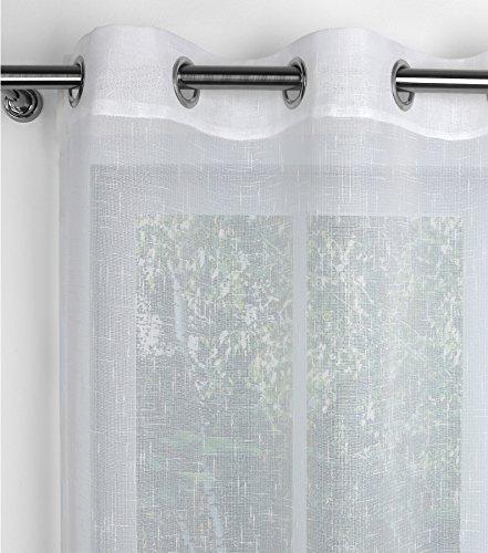 Linen 1# Gardine mit Ösen 140x245 cm, Ösenschal halbtransparent, Farbe wählbar (Weiß)
