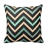 Standard Size 20 by 20 Mint Black Tan Chevron Throw Pillow Pillow Cover Cushion Case Cotton Pillowcase with Invisible Zipper