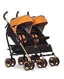 Kinderwagen Duo Comfort ORANGE für Geschwister / Zwillinge - Spazierwagen - Buggy aus Aluminium - neues Modell 2016