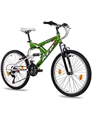 "24"" KCP MOUNTAIN BIKE Youth Kids Bike PANTHERA 18 speed Shimano white green - (24 inch)"