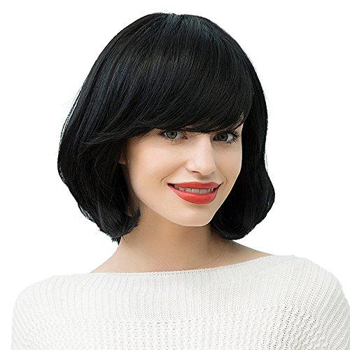 n 120 Dichte Neu Perücke Haar Wigs Weiblich Schwarz Glatt Kurz Schwarz Human Hair Bobo Wig for Cosplay Party Fasching Karneval 1# 30cm (Halloween 4 Personen / Kostüme)