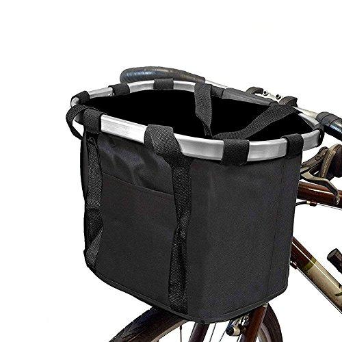 Abnehmbarer Fahrrad vorne Korb, Aluminium Legierung Rahmen Leinwand Fahrrad Lenker Korb, Klapprad Fahrrad vorne Korb, Aufbewahrung Organizer Bike Korb Tasche Pet Carrier für Outdoor Picknick Reise