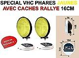 LCM2014 Look Vintage VHC! 2 PHARES Longues PORTEES 16CM Ultra-Fins avec CACHES Rallye Inclus ! Bol Noir Verre Jaune! Xenon Possible! Raid Preparation 4X4 ! Hella Oscar LIGHTFORCE CIBIE KCLITE