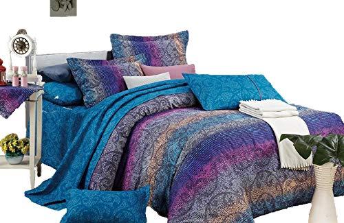 Fantasia 3-teiliges 100% Baumwolle Bettbezug Set: Bettbezug und zwei passenden kissenrollen, baumwolle, multi, Queen - Abstract Tröster