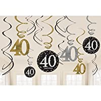 Amscan 670481 Gold Celebration 40th Swirl Decoration Value Pack