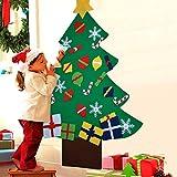 COOFIT 3.3ft Albero Natale Feltro con 28 pz Ornamenti DIY Albero Natale Parete con Corda per Bambini Natale Regali Home Porta Parete Decorazione