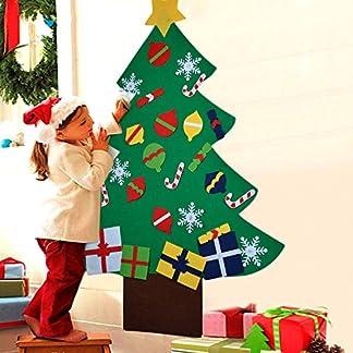 COOFIT Arbol de Navidad de Fieltro DIY con 28pcs Árbol de Navidad para niños Juguetes educativos Decoración de Pared con Cuerda Colgante (28pcs)