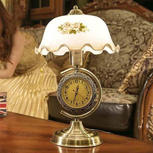 Udxvsdfhd Indoor Wanduhr American Chinese Retro Wohnzimmer Schlafzimmer Nachttischlampe mit Einem Uhrglas Dimmable,