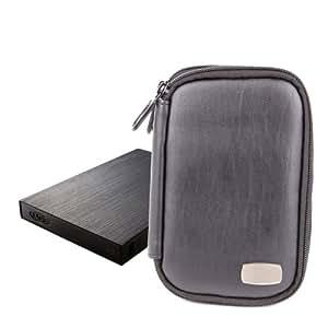 """Housse étui noir aspect cuir + poche de rangement pour disques durs externes Lacie Porsche Design P'9220 & Rugged Triple 2,5"""""""