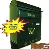 NEU Briefkasten R XXL grün dunkelgrün moosgrün mit Zeitungsrolle montiert Postkasten Post rund
