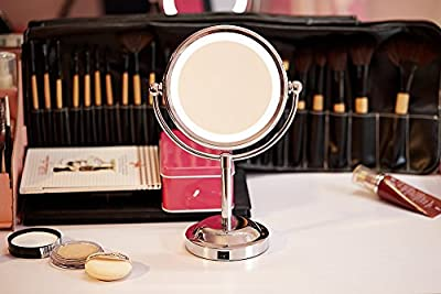 ALHAKIN 1/3X fächer Tischspiegel 6 Zoll Standspiegel With Led Licht