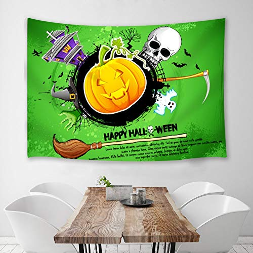 sserie Cartoon Halloween Faktor Schädel Kürbis Besen Magischer Hut Doodle Stil Wandbehang Gelb Grün, 150 X 130 cm ()