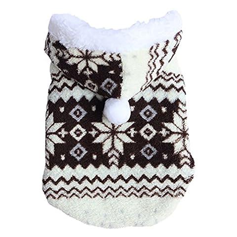 Alcyonée doux Flocon de neige Hiver chaud pour animal domestique Chien Vêtements Veste sweat à capuche Manteau Costume Vêtements