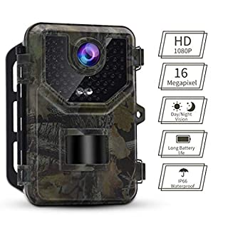 Accfly Trail Wildlife Camera 16MP 1080P HD IP66 Waterproof Surveillance Hunting Cam with Night Vision 20m IR LEDs and 2.4'' LCD Display Motion Sensor
