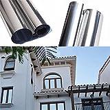 Hoho riflettente Solar specchio finestra argento tinta film One Way privacy adesivo vetro bianco opaco nero pellicola protezione UV decorazione 152,4x 50,8cm Silver