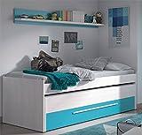 Habitdesign 0A7438K - Cama Nido Juvenil Dos Camas y un cajón, Color Blanco Line y Azul, Medidas: 200 cm (Ancho) x 69 cm (Alto) x 96 cm (Fondo)