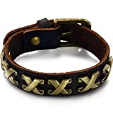 OPK New Fashion Genuine Cow Leather Material Braided Ancient Rome Figures Men's Bracelet Bangle