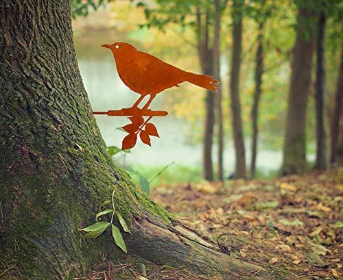 LB H&F Gartendeko Gartenstecker Vogel zum Stecken 24 cm Gross Edelrost Baumstamm Rost Deko Design - NEO