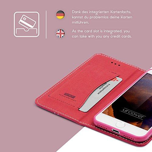 iPhone 7 / 8 Hülle, Urcover® robustes Schutz Cover mit [ KARTENFACH & STAND-FUNKTION ] Noble Series Wallet Handyhülle Etui Schutzhülle Flip Case für Apple iPhone 7 / 8 Farbe: Braun Pink
