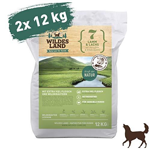 Wildes Land | Trockenfutter für Hunde | Nr. 7 Lamm & Lachs | 24 kg | mit Kartoffeln und Wildkräutern | Glutenfrei & Hypoallergen | Extra viel Fleisch | Beste Akzeptanz und Verträglichkeit -