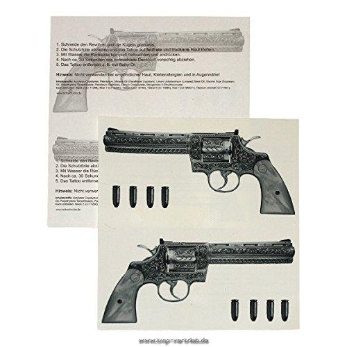 2 Revolver Tattoo - Guns Tattoo - Gangster Tattoo 1links 1rechts (2) (In Halloween-make-up 5 Minuten)