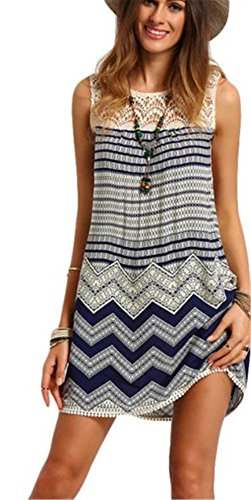 SKY Celebrate for the Prime Day !!! Mujeres playa rayas sin mangas de encaje boho mini vestido (XL, Multicolor)