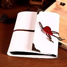 Debon, in pelle fai da te album album fotografico, Album portafoto, per anniversario, compleanno, Natale Matrimonio Libro degli ospiti, M Bianco