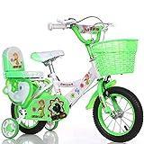 DTTX002 Stilvolles Und Einfaches Fahrrad, Junge Und Mädchen Fahren Fahrrad, Persönliches Fahrrad Der Kindheit, 2-9-Jähriges Baby Hilfsradfahrrad Rad,Grün,100 cm