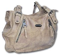 Jennifer Jones Damen Handtasche Henkeltasche Umhängetasche hochwertiges Kunstleder (Natur)
